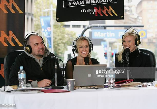 Radio personalities Marty Sheargold Fifi Box and television host Sonia Kruger attend Triple MMM radio breakfast show in Martin Place on April 27 2007...