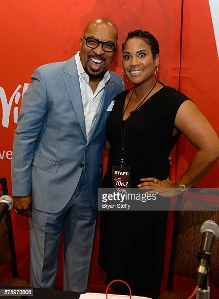 Radio personalities Nephew Tommy and Zenja Dunn attend the State Farm Color Full Lives Art Gallery during the 2016 State Farm Neighborhood Awards at...