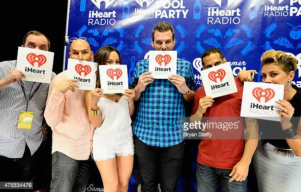 Radio personalities Romeo DJ JV Letty B Brotha Fred Ramiro Torres and Angi Taylor attend The iHeartRadio Summer Pool Party at Caesars Palace on May...