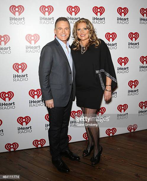 Radio personalities Valentine and Delilah arrive at iHeart Radio's Ultimate Valentines Day Escape at Brooklyn Bowl Las Vegas at The LINQ Promenade on...