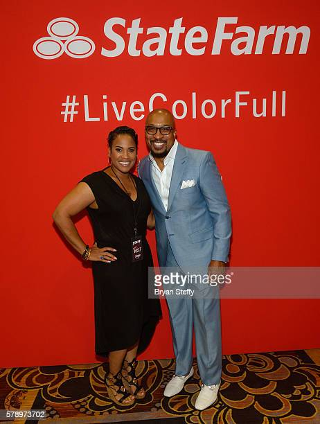 Radio personalities Zenja Dunn and Nephew Tommy attend the State Farm Color Full Lives Art Gallery during the 2016 State Farm Neighborhood Awards at...