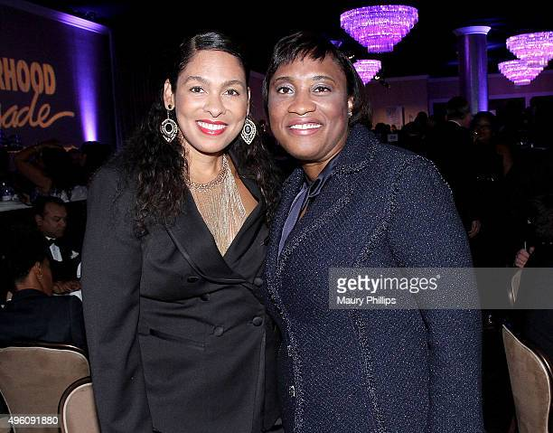 Radio Personality Adai Lamar and Laphonza Butler attend the 47th Annual Pioneer of African American Achievement Awards Gala at The Beverly Hilton...