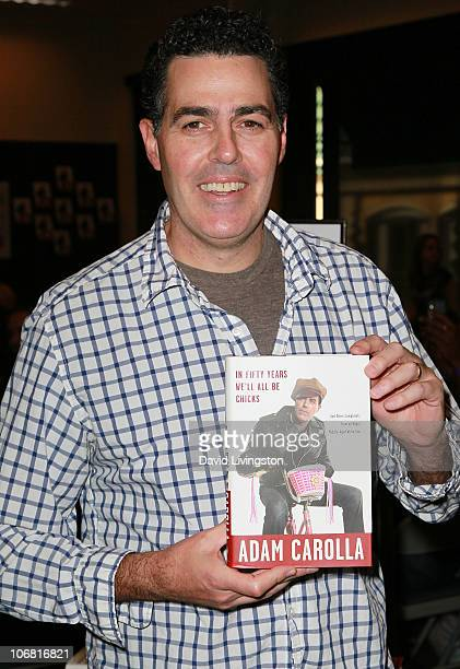 "Radio personality Adam Carolla attends a signing for his book ""In 50 Years We'll All Be Chicks"" at Barnes & Noble Booksellers at The Grove on..."