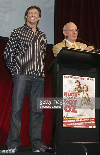 Radio personality Alan Jones and Hugh Jackman attend the Hugh Jackman Cocktail Party at the Hilton Sydney on February 13 2006 in Sydney Australia