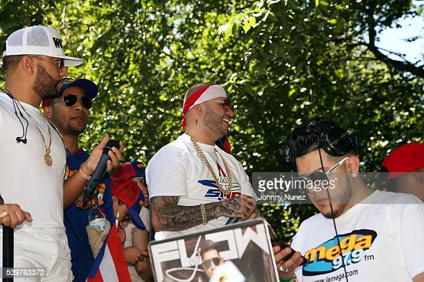 Radio personality Alex Sensation singersongwriter Farruko and DJ Flow attend the 2016 Puerto Rican Day Parade on June 12 2016 in New York City