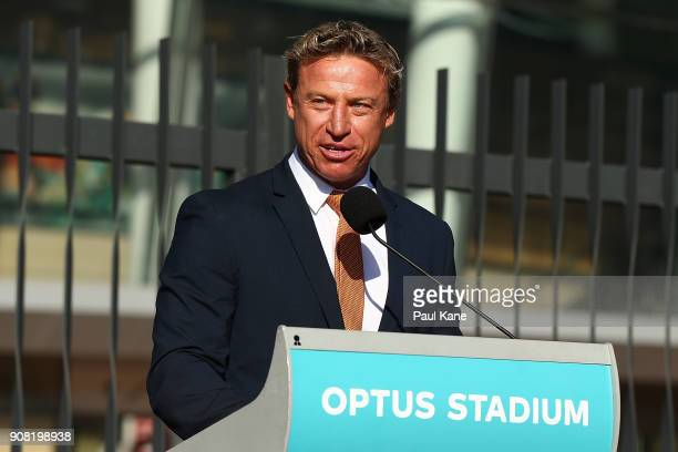 Radio personality and former Fremantle AFL player Shaun McManus addresses invited guests and members of the public before the official opening at...