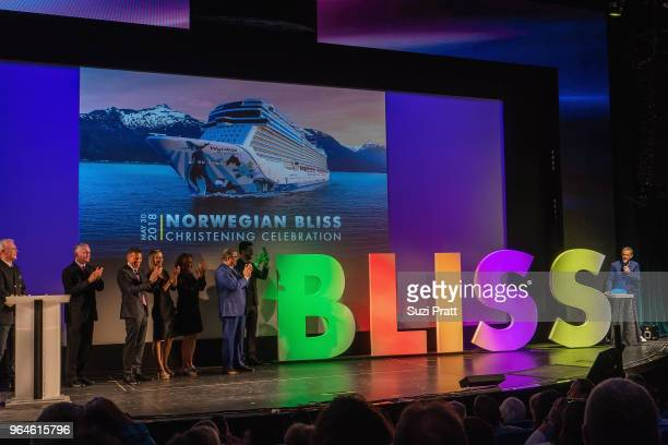 Radio personality and Godfather to Norwegian Bliss Elvis Duran launches the official bottle break on board at Pier 66 on May 30 2018 in Seattle...