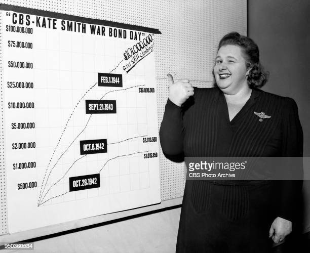 Radio personality and singer Kate Smith for the Fourth War Loan Drive The 17hour drive for war bond sales attained more than $100000 worth Pictured...