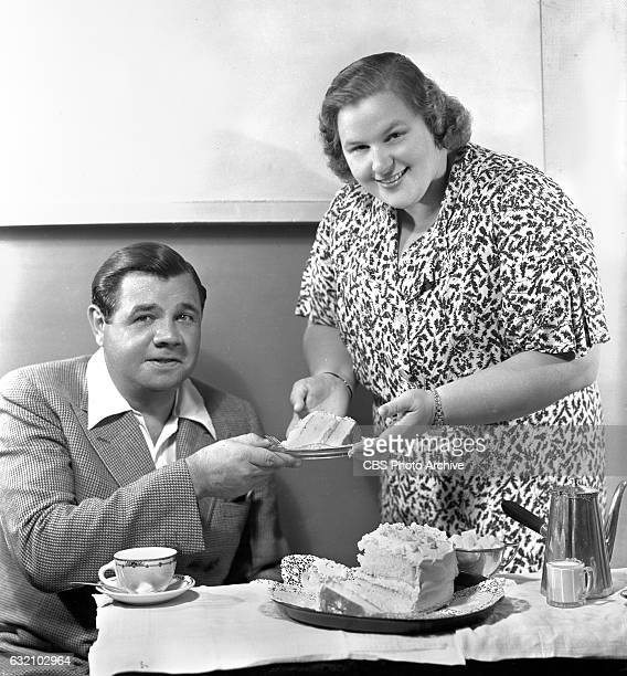 Radio personality and singer Kate Smith with former baseball great Babe Ruth George Herman Ruth tries out some comedy on The Kate Smith Hour program...