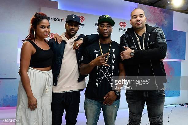 Radio personality Angela Yee rapper Big Sean radio personalities Charlamagne Tha God and DJ Envy of The Breakfast Club attend the 2015 iHeartRadio...