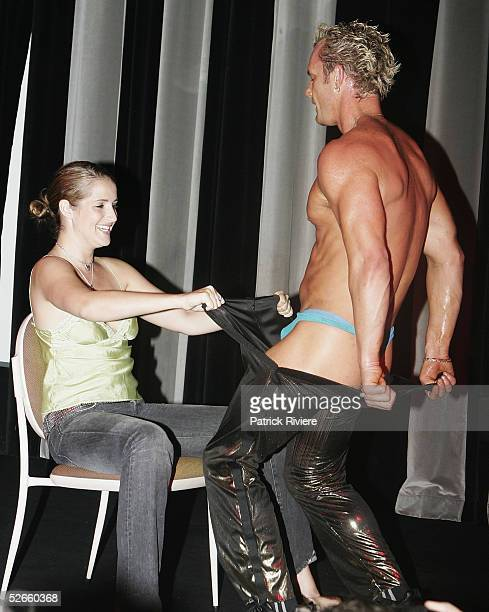 """Radio personality Bianca Dye partricipates on stage at a male strip-show for the launch of """"The Bourbon Ladies Night"""" at the Bourbon night club in..."""