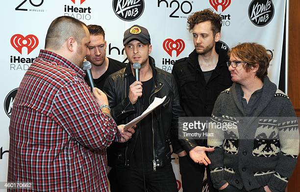 Radio personality Big D and recording artists Zach Filkins Ryan Tedder Brent Kutzle and Drew Brown of music group OneRepublic attend 1013 KDWB's...