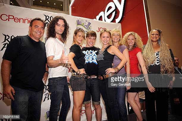 Radio personality Bob Bronson and cast members of the Broadway show Rock Of Ages Constantine Marsoulis Ericka Hunter Derek St Pierre Becca Tobin...