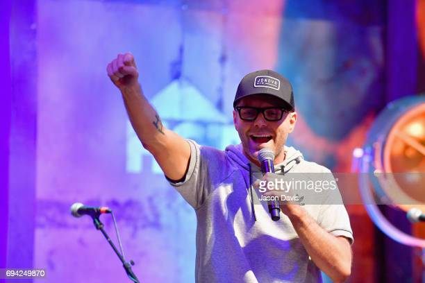 Radio personality Bobby Bones speaks onstage at the HGTV Lodge during CMA Music Fest on June 9 2017 in Nashville Tennessee