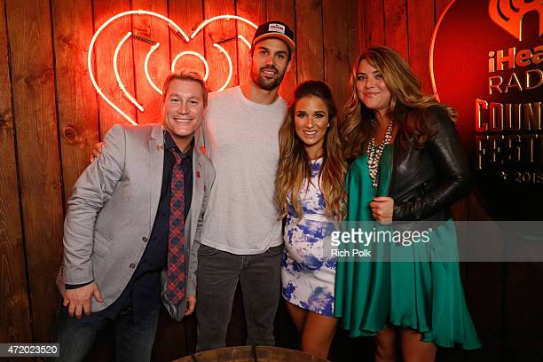 Radio personality Boxer NFL player Eric Decker singer Jessie James Decker and radio personality Anne Hudson pose backstage during the 2015...