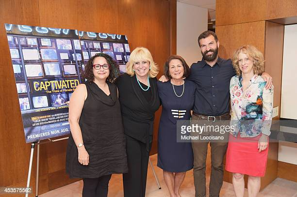 Radio personality Brooke Gladstone Linda Kenney Baden ESQ Linda Wojas and filmmakers Jeremiah Zagar and Lori Cheatle attend a special screening of...