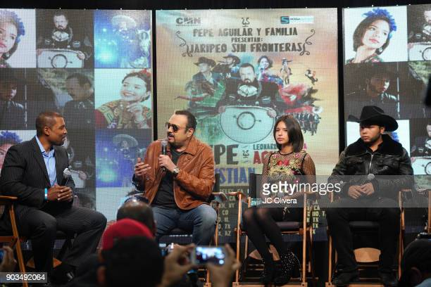 Radio personality Carlos Alvarez recording artist Pepe Aguilar Angela Aguilar and Leonardo Aguilar attend a press conference for the upcoming Tour...