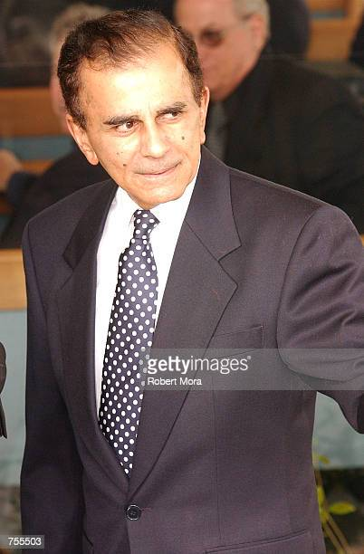 Radio personality Casey Kasem attends the funeral for late comedian Milton Berle at Hillside Memorial Park April 1, 2002 in Culver City, CA. Berle...