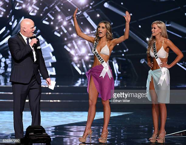 Radio personality Chet Buchanan jokes around with top 10 finalists Miss South Dakota USA 2016 Madison McKeown and Miss Arkansas USA 2016 Abby Floyd...