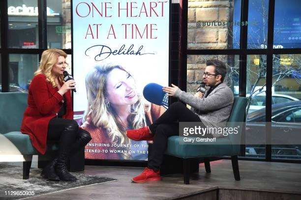 Radio personality Delilah visits the Build Series with host Matt Forte to discuss 'One Heart at a Time' at Build Studio on February 14 2019 in New...