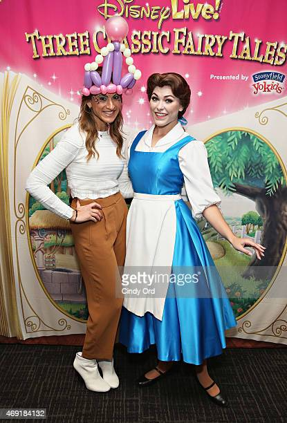 TV/ Radio personality Denise Albert of 'The Moms' and Princess Belle attend The Moms Disney Live Mamarazzi Event With Alana Nicole Feld at Madison...