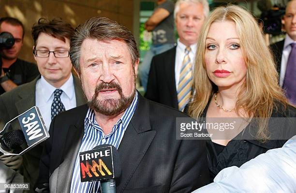 Radio personality Derryn Hinch and Chanel Hayton speak to the media as they leave Melbourne Magistrates' Court on February 19 2010 in Melbourne...