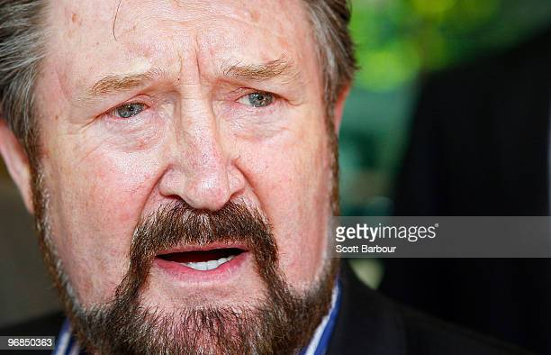 Radio personality Derryn Hinch leaves Melbourne Magistrates' Court on February 19 2010 in Melbourne Australia Hinch is in court in a bid to fight...