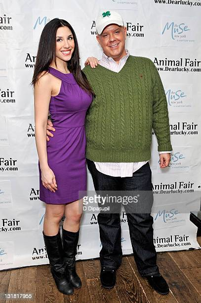 Radio personality Diana Falzone and Jimmy Floyd attend St Pawtricks Yappy Hour benefiting the Humane Society of New York at the Muse Hotel on March...