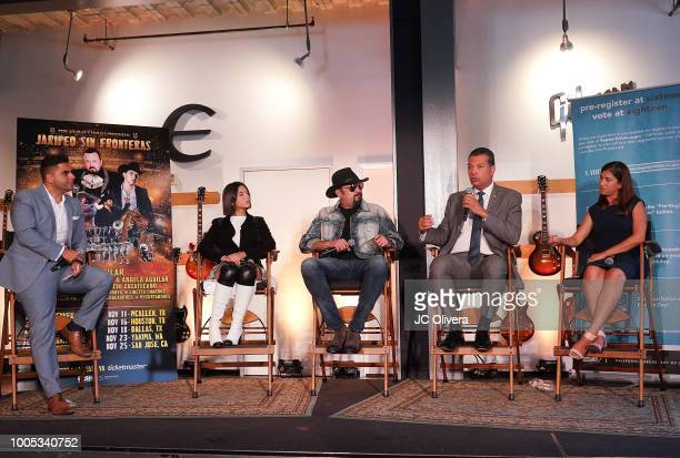 Radio personality Edgar Sotelo recording artists Angela Aguilar Pepe Aguilar Secretary of State of California Alex Padilla and Voto Latino COO...