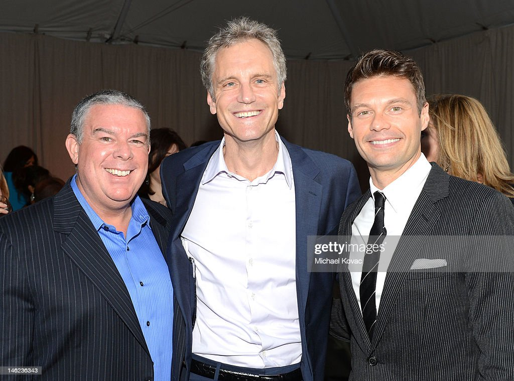 Radio personality Elvis Duran, Clear Channel's John Sykes and Ryan Seacrest arrive at City Of Hope Honors Clear Channel CEO Bob Pittman With Spirit Of Life Award - Red Carpet at The Geffen Contemporary at MOCA on June 12, 2012 in Los Angeles, California.