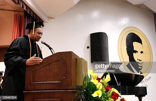 Radio Personality Fred Krute aka DJ Red Alert speaks during the induction ceremony at the 3rd Pi Eta Kappa Honor Society Induction Ceremony at Medgar...