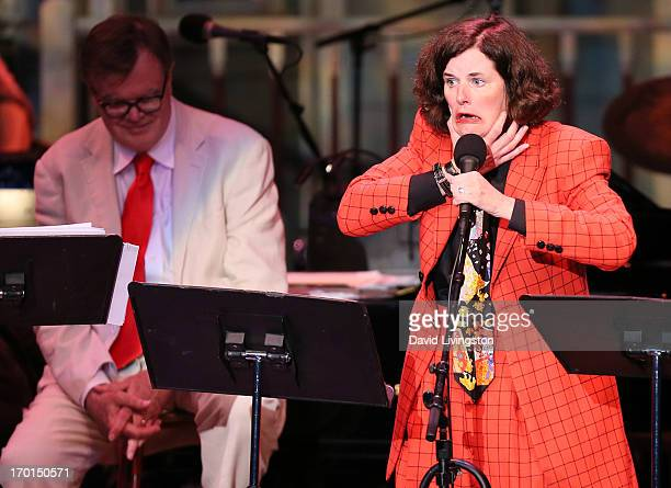 Radio personality Garrison Keillor and comedian Paula Poundstone perform during A Prairie Home Companion taping at the Greek Theatre on June 7 2013...
