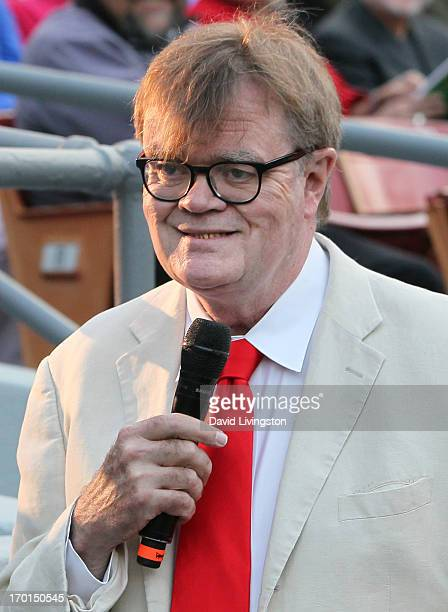 Radio personality Garrison Keillor of A Prairie Home Companion performs at the Greek Theatre on June 7 2013 in Los Angeles California