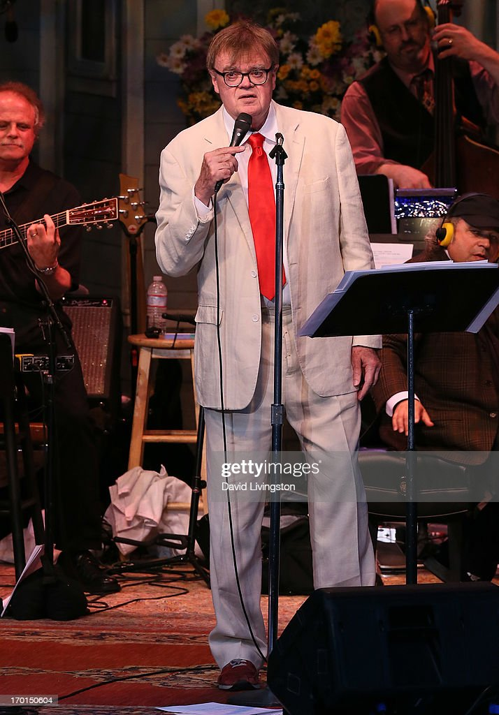 Radio personality Garrison Keillor of A Prairie Home Companion performs at the Greek Theatre on June 7, 2013 in Los Angeles, California.