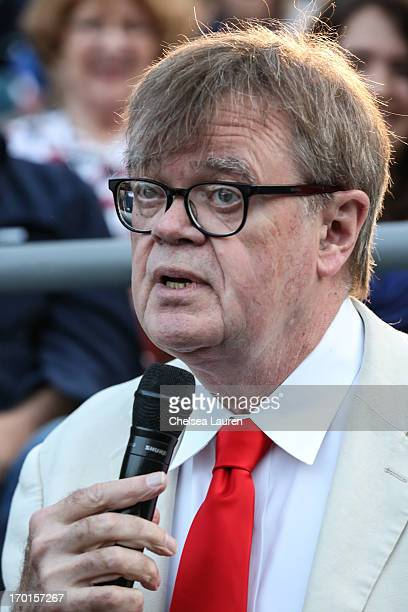 Radio personality Garrison Keillor performs during A Prairie Home Companion taping at The Greek Theatre on June 7 2013 in Los Angeles California