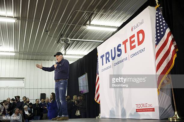 Radio personality Glenn Beck speaks as he introduces Senator Ted Cruz, a Republican from Texas and 2016 presidential candidate, not pictured, during...