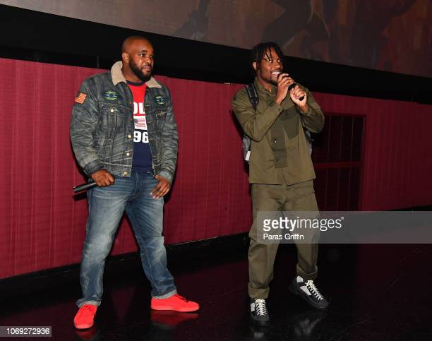Radio personality Headkrack and actor Shameik Moore onstage during 'Spiderman Into The SpiderVerse' Atlanta screening at Regal Atlantic Station on...
