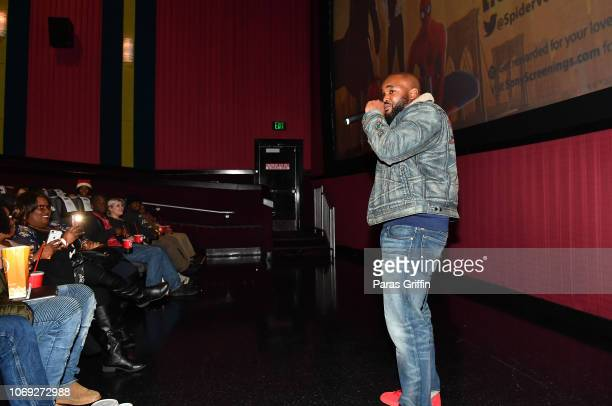 Radio personality Headkrack speak onstage during 'Spiderman Into The SpiderVerse' Atlanta screening at Regal Atlantic Station on December 6 2018 in...