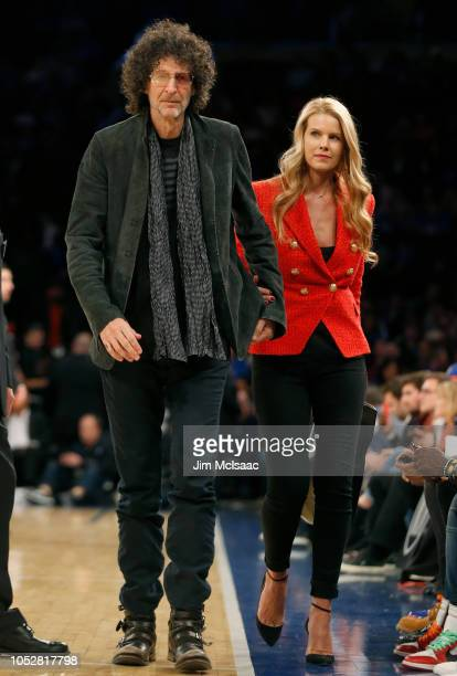 Radio personality Howard Stern and wife Beth Ostrosky attend a game between the New York Knicks and the Atlanta Hawks at Madison Square Garden on...