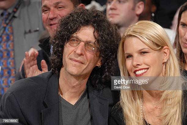 Radio personality Howard Stern with girlfriend Beth Ostrosky attend the game between the Philadelphia 76ers and the New York Knicks at Madison Square...