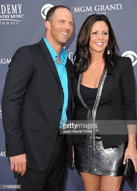 Radio personality Jay Barker and singer Sara Evans arrive at the 46th Annual Academy Of Country Music Awards RAM Red Carpet held at the MGM Grand...