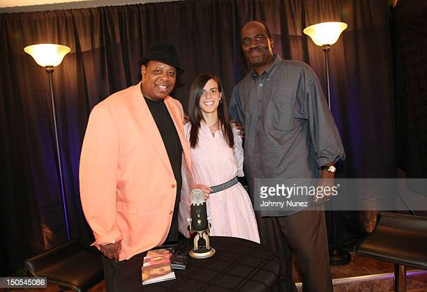Radio personality Jeff Foxx singer Jill Criscuolo and radio personality Fred Mills visit 'The Jeff Foxx Radio Show' on August 20 2012 in West Orange...