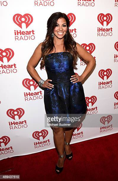 Radio personality Jenny Castillo poses backstage during the iHeartRadio Fiesta Latina festival presented by Sprint at The Forum on November 22, 2014...