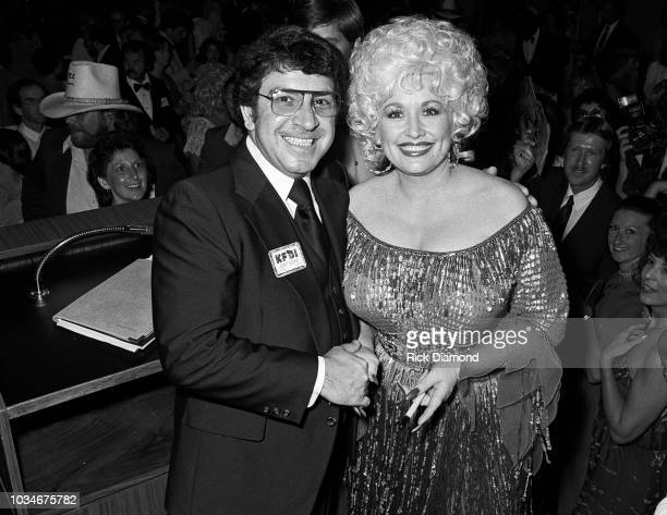 KFDI Radio personality Jerry Adams and Singer/Songwriter/Actor Dolly Parton attend The Best Little Whorehouse In Texas premiere at Opryland on July...