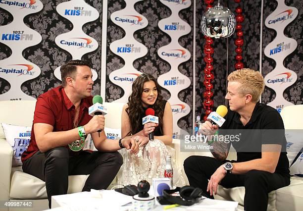 Radio personality Jesse Lozano actress/recording artist Hailee Steinfeld and radio personality JoJo Wright attend 1027 KIIS FM's Jingle Ball 2015...