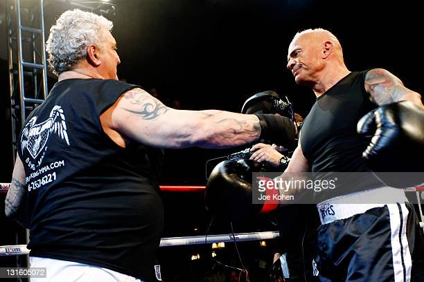 Radio personality Joey Buttafuoco fight Lou Ballera during Celebrity Fight Night At The Avalon on November 5 2011 in Hollywood California