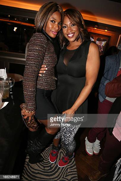 Radio personality K Foxx and journalist Jas Fly attend The Gossip Game Viewing Party at The 40 / 40 Club on April 1 in New York City