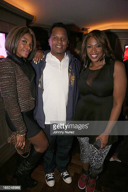 Radio personality K Foxx recording artist Special Ed and journalist Jas Fly attend The Gossip Game Viewing Party at The 40 / 40 Club on April 1 in...