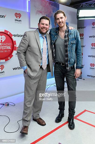 Radio personality Kane and singer Hozier attend the 2015 iHeartRadio Music Festival at MGM Grand Garden Arena on September 19 2015 in Las Vegas Nevada
