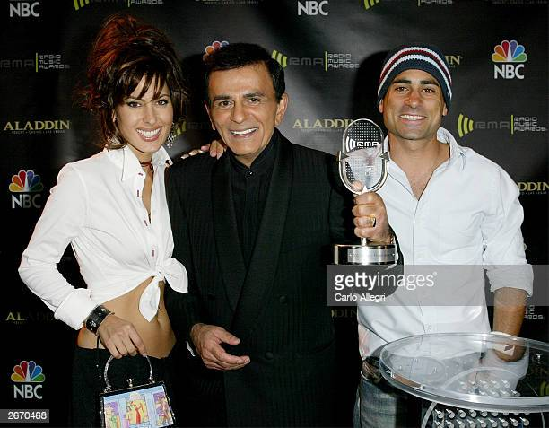 Radio Personality Kasey Casem with his daughter Kerri and son Mike backstage at The 2003 Radio Music Awards at the Aladdin Casino Resort October 27,...